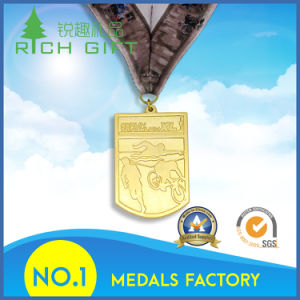 Custom Gold Award Metal Sport Medal with Ribbon pictures & photos