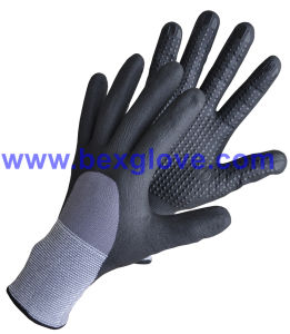 15 Gauge Nylon/Spandex Liner, Nitrile Coating, 3/4, Micro-Foam Safety Gloves pictures & photos
