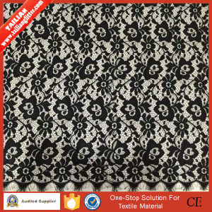 2016 Tailian Flower Design High Quality Black Woven Fabric Lace pictures & photos