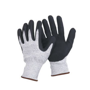 13 Guage Hppe Fibre Knitted Glove with Latex Coated Ce En388 L-D132