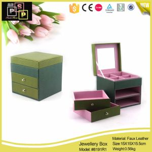 Square Shape Green Color Leather Jewelry Box pictures & photos