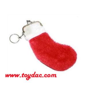 Plush Stocking Purse Bag Key Ring