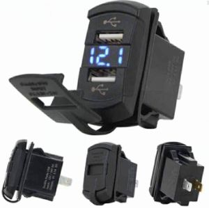 2 In1 Rocker Style 4.2A Dual USB with Blue LED Digital Display Voltmeter Car Charger for Smartphone pictures & photos
