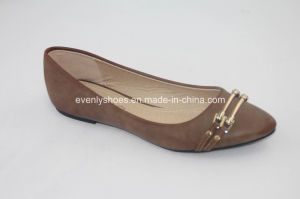 Pointed Toe Lady′s Ballet Flat with Metal Part Decoration pictures & photos