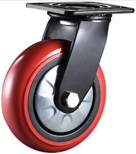 Black Bracket 8 Inch Red PU Wheel Industrial Heavy Duty Swivel Casters pictures & photos