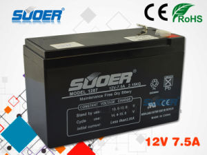 Suoer Maintenance Free Battery 12V 7.5ah Storage Battery pictures & photos