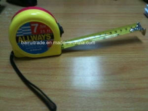 Red Yellow ABS Case Measure Tape with Black Point Brake pictures & photos