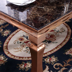 New Design Marble Top Chromed Gold Legs Dining Room Metal Table pictures & photos