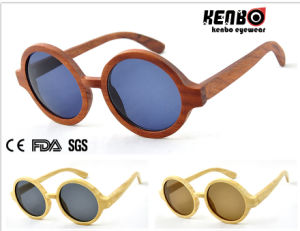 Hot Sale Fashion Unisex Round Frame Wooden Sunglasses Kw013 pictures & photos