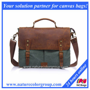 Men′s Canvas Genuine Leather Crossbody Laptop Messenger Shoulder Satchel Bag (MSB-040) pictures & photos