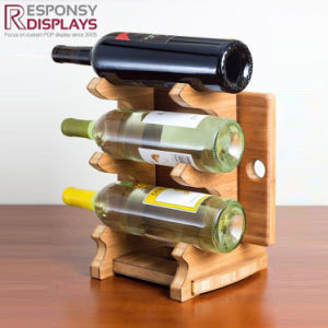 Supermarket Creative Counter Wood Wine Display Rack for Three Beer Bottles pictures & photos