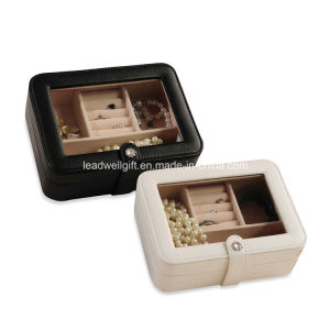 Faux Leather Glass Top Jewelry Box Storage Case pictures & photos