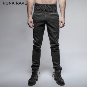 K-238 Black Spring New Gothic Chinese Knot Skinny Male Trousers pictures & photos