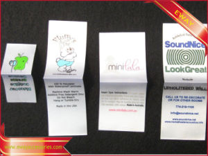 Middle Fold Printed Label Apparel Printed Satin Label pictures & photos