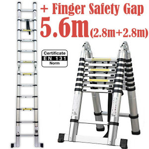 5.6m 2 in 1 Telescopic Ladder with Finger Safety Gap pictures & photos