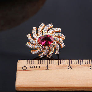 Fashion New Champagne Zircon Flower Silver Earrings pictures & photos
