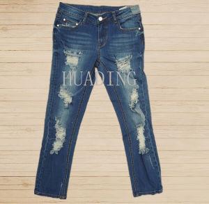 Newest Fashion Design Custom Women′s Blue Denim Jeans Hdlj0062 pictures & photos