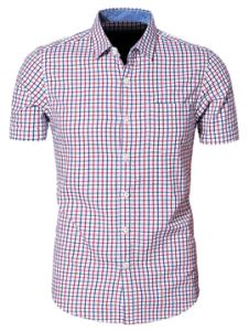 Men′s Short Sleeved Plaid Dress Shirt pictures & photos