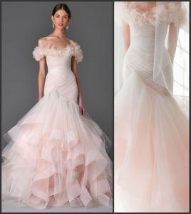 Blush Bridal Dresses off Shoulder Flora Wedding Gown H1237 pictures & photos