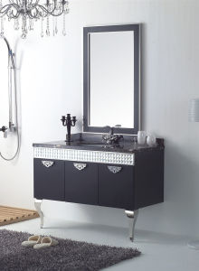 Black Stainless Steel New Fashion Embossment Design Bathroom Mirrored Cabinet (YB-810)