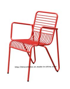 Modern Steel Dining Restaurant Arm Stackable Chairs pictures & photos