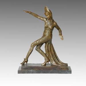 Dancer Statue Dovetail Skirt Bronze Sculpture, C. Mirval TPE-312
