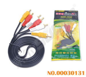 Suoer 1.5m AV Cable Male to Male 3RCA to 3 RCA AV with Golden Connector Cable (AV-613A-1.5M-gold) pictures & photos