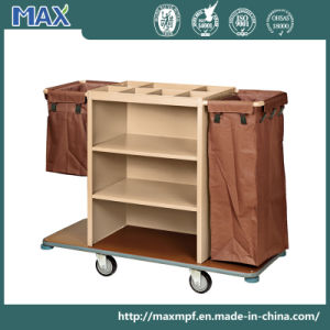 Beige Powder Coated Metal Housekeepingtrolley Roll Away Cleaning Cart pictures & photos
