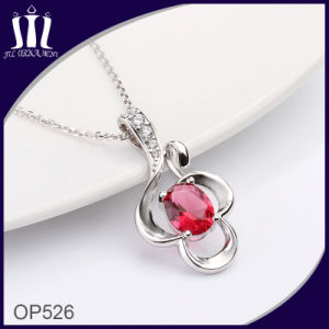 Hot Sale Flower Ruby 14k Stainless Steel Pendant pictures & photos