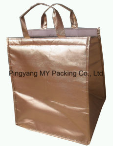 Advertising Gold PP Lamination Insulated Disposable Cooler Bag pictures & photos