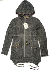 Women′s Spring Fleece Jacket with Hood pictures & photos