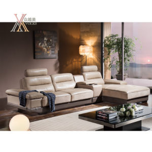 Leather Sofa with Storage Cabinet and Table (826)