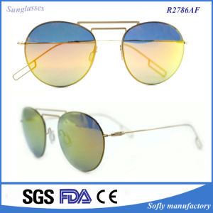 Women Fashion Twin-Beams Classic Metal Frame Mirror Sunglasses pictures & photos