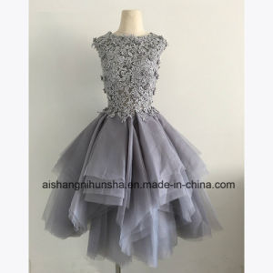 Tulle Lace Appliqued Sleeveless Prom Party Gown Dresses pictures & photos