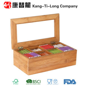 Bamboo Tea Storage Box 8 Equally Divided Compartments Organizer Container