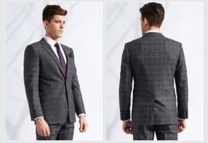 Bespoke Grey Check Business Dress Suit for Men Discount pictures & photos