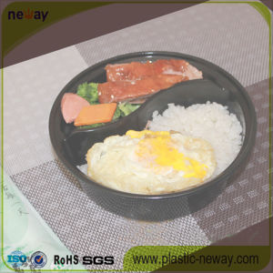 2 Compartments Round Microwaveable Plastic Disposable Lunch Box pictures & photos