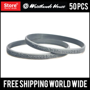 1/4 Inch Custom Emboss Silicone Wristbands pictures & photos