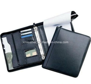 Embossed Black Leather Ring Binder Folder with Notepad pictures & photos