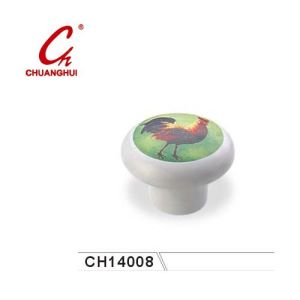 White Ceramic Knob Handles with Cock Pattern (CH14008) pictures & photos