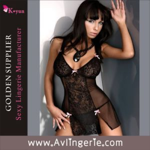 New Arrival Sexy Costumes Women Ladies Lace Babydoll Lingerie (KLB1-063)