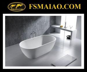 Modern Fashion Stone Resin Glossy White Freestanding Bathtub (BS-8612) pictures & photos