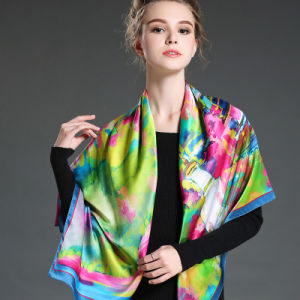 Digital Printing Large Silk Square Scarf pictures & photos