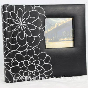 Flower Decorated Black Leather Photo Album with Square Window pictures & photos