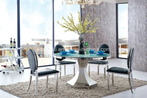Modern Round Glass Steel Base 4 Chairs Dining Table Set pictures & photos