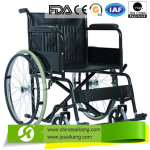 Steel Wheelchair with Fixed PVC Armrest pictures & photos