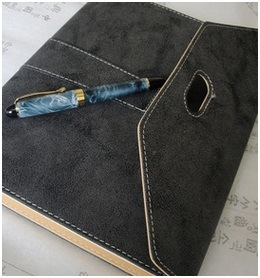 Efficiency Manual Loose-Leaf Notebook, Grey Notebook with Plastic Pen Set pictures & photos