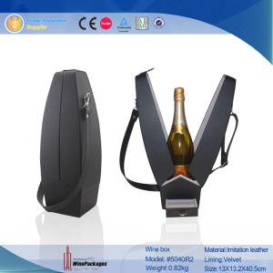 Novelty Black Plain Leather Single Decorative Wine Carrier (5040R2) pictures & photos