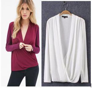 OEM Plus Size Fat Women Long Sleeve Elegant Blouse pictures & photos