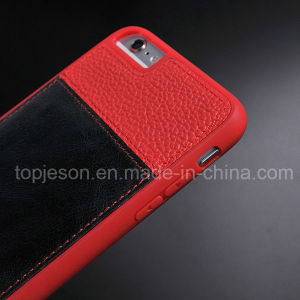 Red with Brown Genuine Leather Case for iPhone 6 Plus pictures & photos